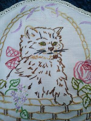 Sweet Kitty Cat/Basket Roses/Bow  Vintage Hand Embroidered Centrepiece