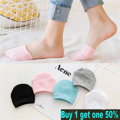 5 Pairs Women Half Foot Toe Cover Solid Socks Invisible Summer Breathable Casual