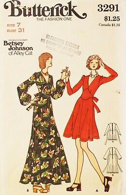 Designer Betsey Johnson Sewing Pattern for Dress - vintage 1970s Butterick 3291