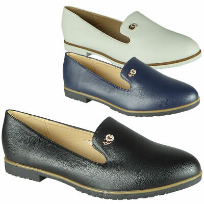 Ladies Loafers Shoes Womens Faux Suede Flats Office Slip On Work School Size