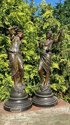 A Beautiful Pair Of Spelter Figurines Signed By Par Aug Moreau On Stand *