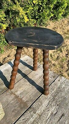 Great Vintage Well Used Worn 3 Legged Stool With Bobbled Legs *
