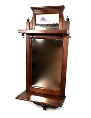Victorian Mahogany Framed Mirror With Photo Frame / Antique / Wall Hanging