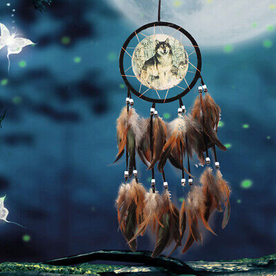 """Dream Catcher With Feathers 23.62"""" Wall Hanging Decoration Gift Ornament-Wolf"""