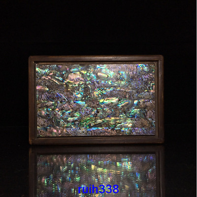 """7.2"""" Collection Asia China old antique Rosewood Mosaic shells Box"""
