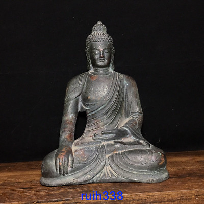 "8.6"" Collection Asia China old antique bronze Tathagata Buddha statue"