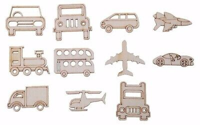 Transportation wooden embellishments Automotive craft shapes, cars, trains,plane