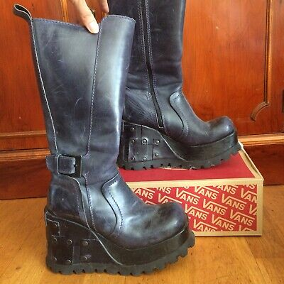 90's Y2k Shellys navy blue Goth New Rock biker Chick Style wedge platform boots