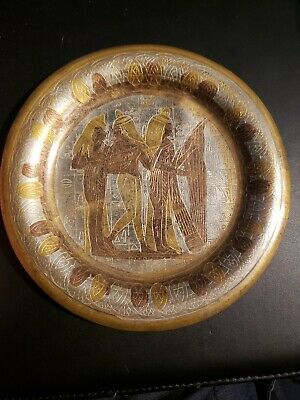 Vintage Egyptian Wall Haning Plate Handmade copper brass rare decor Pharaohs