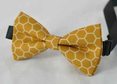 Boy Kids Yellow Bee Honeycomb Honey comb Cotton Bow tie Fits 7-14 Years Old