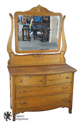 Late Victorian Antique Serpentine Oak Dresser & Carved Mirror 72""