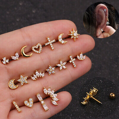 Cartilage Steel Piercing Jewelry Crystal Flower Conch Stud Helix Tragus Earrings