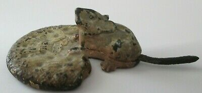 Unusual Vtg Cast Iron Figural Mouse Paperweight Advertising Crown Biscuit 3Pc