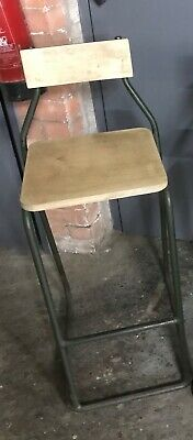 Vintage Industrial PEL Tubular Lab Draftsman Chair Stool Breakfast Bar