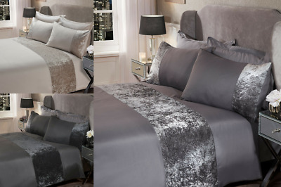 Sienna Crushed Velvet Panel Duvet Cover with Pillow Case Bedding Set**NEW