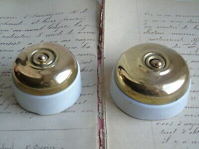 French set of 2 porcelain brass switches retro  genuine classic style