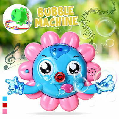 Automatic Flower Bubble Blowing Music Maker Machine w/ Neck Strap Kids Fun Party