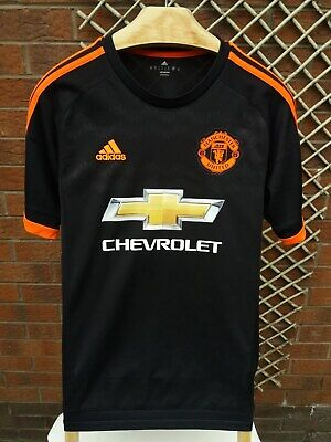 Manchester United Mens Uk Size Small Black & Orange Adidas 2015/16 Third Shirt