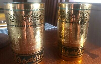 """2 Gold MOROCCAN/TURKISH TEA COFFEE GLASSES 2 Replacements or as set 4 1/2"""" tall"""