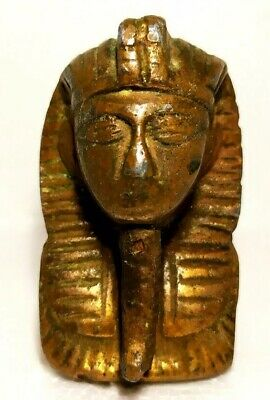 Egypt King Tut Pharaoh Figurine Statue Ancient Sculpture 3D Face Head Very Old.