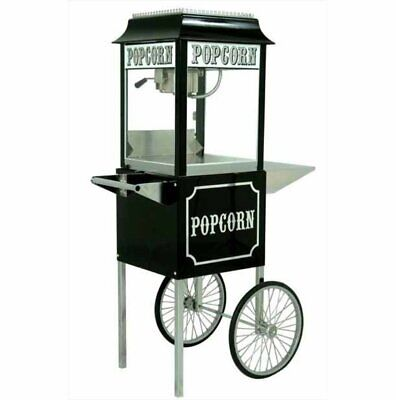 Black Paragon 1911 8 Ounce Popcorn Machine and Antique Cart Combo