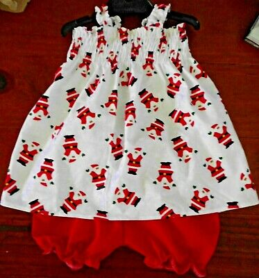 Sz 1 (2 Piece) Christmas Cotton Pants/Bloomers & Shirred Top Brand New