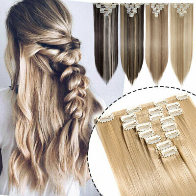 Lady 8Pcs full head clip in hair extensions Brown Blonde Real Thick Hairpiece UK