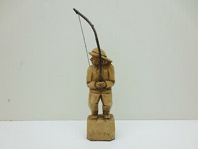 "Vtg Wood Carving Daigle Quebec Canada 6"" Fisherman Hand Carved Folk Outsider Art"