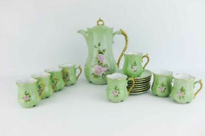 Bavaria Hand Painted Coffee Pot & Tea Cup Sets Signed Mint Green W/Roses(17 PCS)