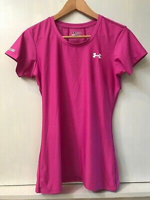 Under Armour Heat Gear Womens Fitted Short Sleeve Pink Shirt Top Size Medium