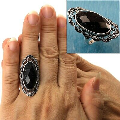 8.22ct Genuine Black Onyx Oval /& .925 Silver Overlay Cocktail Solitaire Rings
