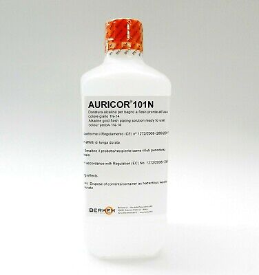 14K Yellow Gold Plating Solution AURICOR 101N 14 Karat Electroplating Made Italy
