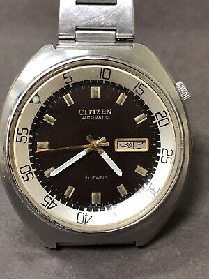 VINTAGE CITIZEN Jumbo Marine 51-1811 Rotating Bezel Automatic WATCH Silver D R7