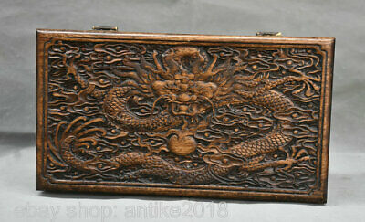 """14"""" Old Chinese Huanghuali Wood Carving Dragon Furniture Small Jewelry Box"""