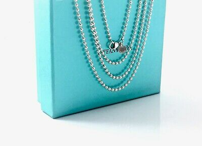 Tiffany & Co. Sterling Silver 2.5mm Bead Ball Necklace Pouch 34in / 15gr 190928A