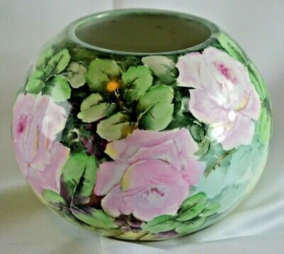 Stunning Hand Painted Porcelain Roses Jardiniere Bowl