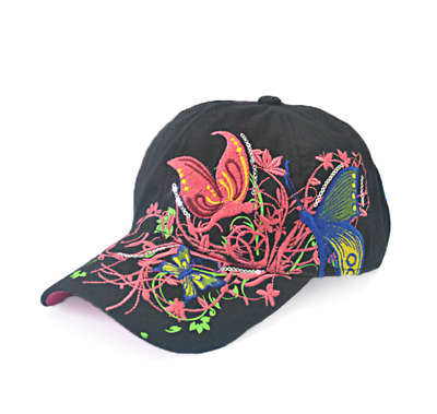 /KIZON Baseball Cap For Women With Butterflies And Flowers Embroidery Adjustable
