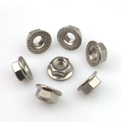 Flange Hex Locknut 304 Stainless Steel M3 M4 M5 M6 M8 M10 M12 Serrated Lock Nuts