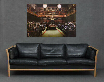Banksy Parliament Monkeys Chimps Print Canvas Wall Art Picture House of Commons