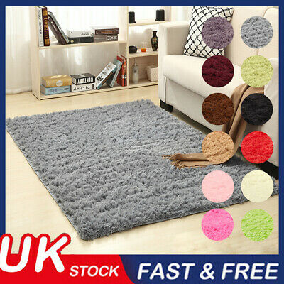 Large Fluffy Rugs Anti-Slip Shaggy Area Rug Dining Room Carpet Floor Mat Bedroom