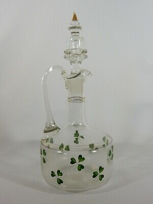 Antique Edwardian Glass Wine Decanter Clear Clover Shamrock Ireland Spirit Gold