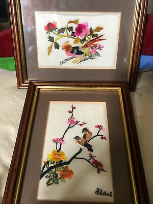 Two Embroidered Pictures Framed And Glazed Depicted Exotic Birds & Flowers