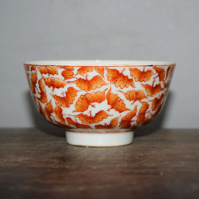 Chinese Old Marked Iron Red Colored Bats Pattern Porcelain Bowl