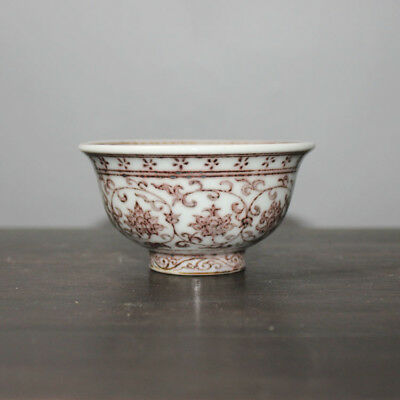 Chinese Old Underglaze Red Twined Flowers Pattern Porcelain Cup