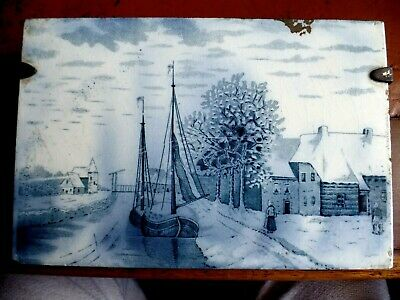 Antique Hand Painted Delft Tile Canal Boat Scene Circa 1900