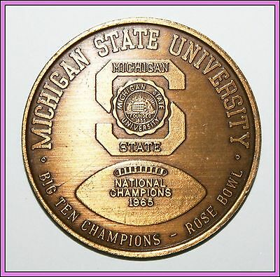 Michigan State MSU 1965 1966 National Champions Championship Coin Football RARE