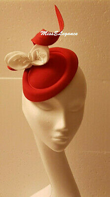 Fascinato, # fascinator Hat felt fascinator White leave.Red,Brown,Blue ASCOT hat