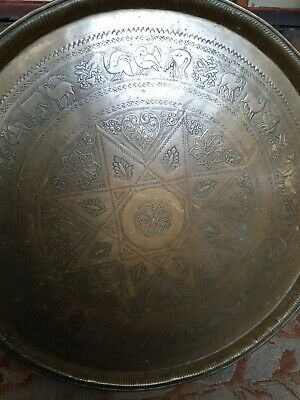 Fine Large Antique Middle Eastern Islamic Brass Tray