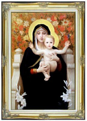 Framed Quality Hand Painted Oil Painting Bouguereau Virgin & Child Repro 24x36in