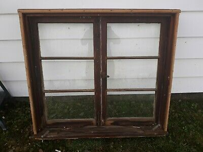 "Vintage Wood Glass Window Frame 6 Pane 41 7/8"" X 38 1/2"""